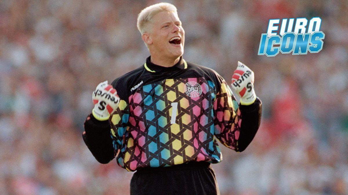 Peter Schmeichel celebrates Denmark's Euro 92 triumph