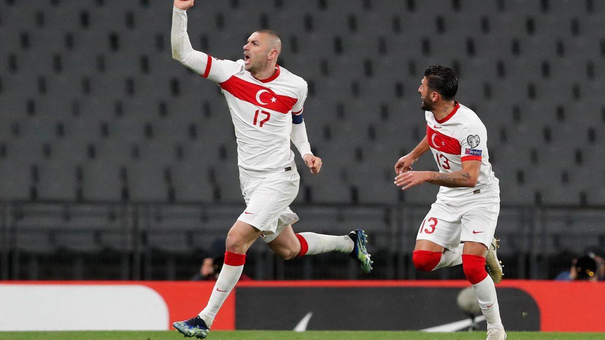 Burak Yilmaz of Turkey celebrates, Turkey v Netherlands, World Cup qualifying, Ataturk Olympic Stadium, in Istanbul, Turkey, March 24, 2021
