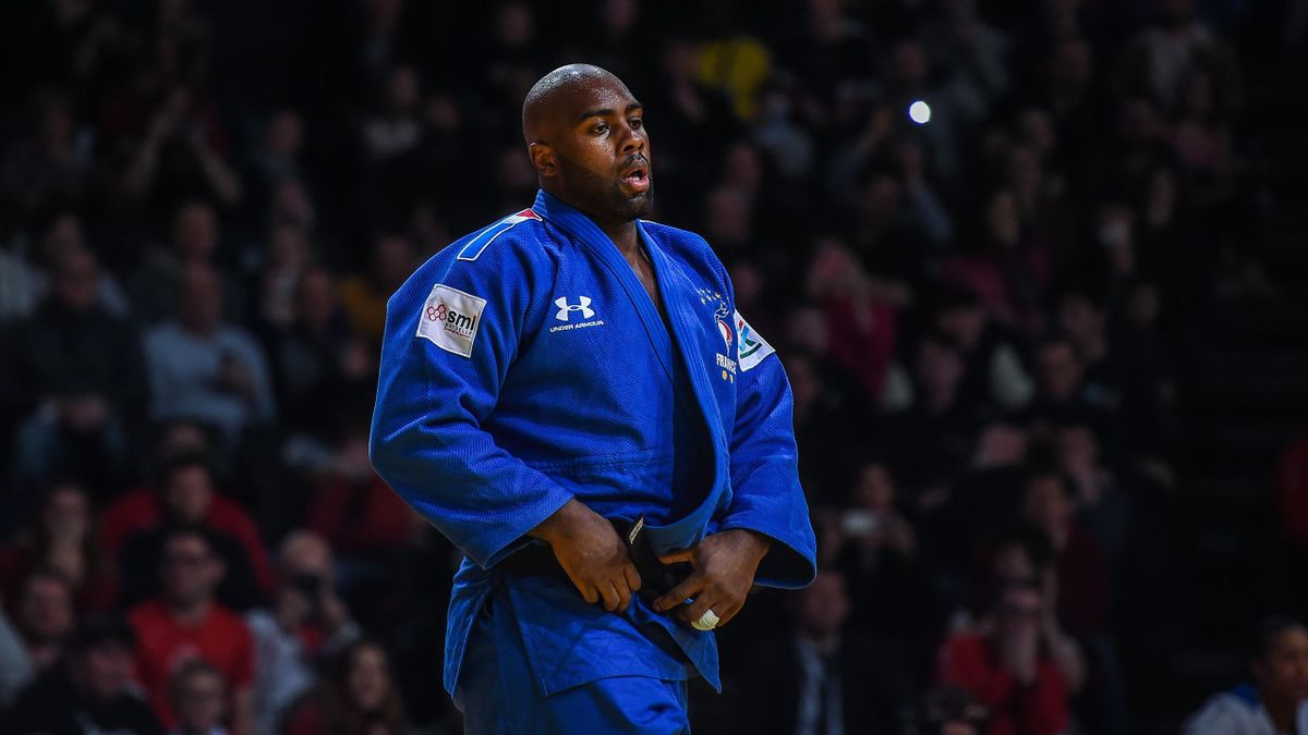 Teddy Riner lors de son combat contre Kokoro Kageura au Grand Slam de Paris 2020