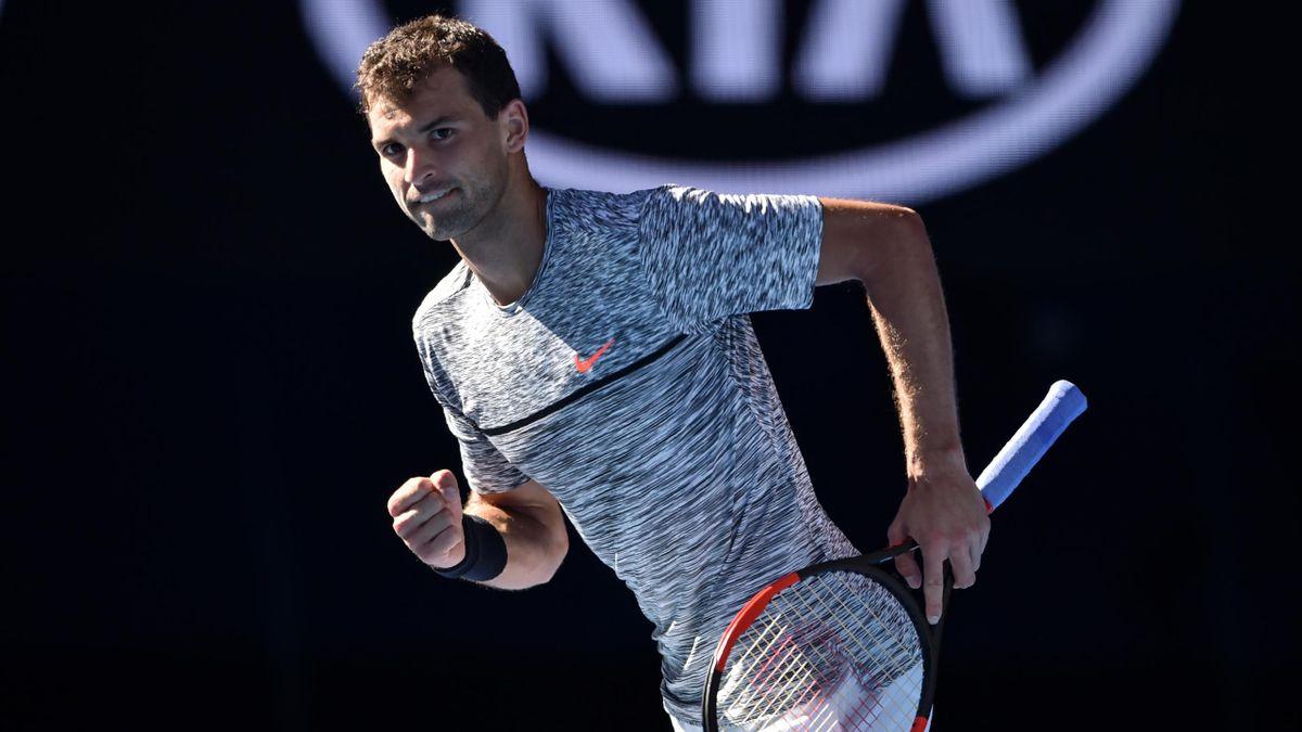 Grigor Dimitrov lors de son quart de finale contre David Goffin à Melbourne