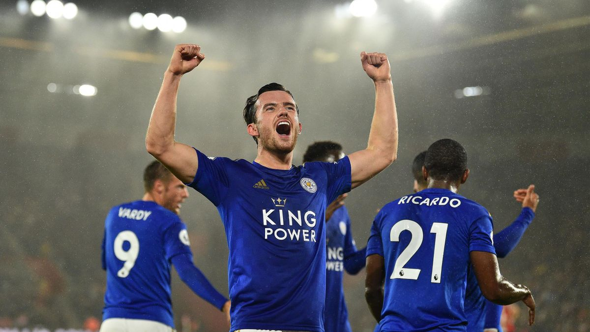 Ben Chilwell se bucură pentru un gol  marcat în tricoul lui Leicester City