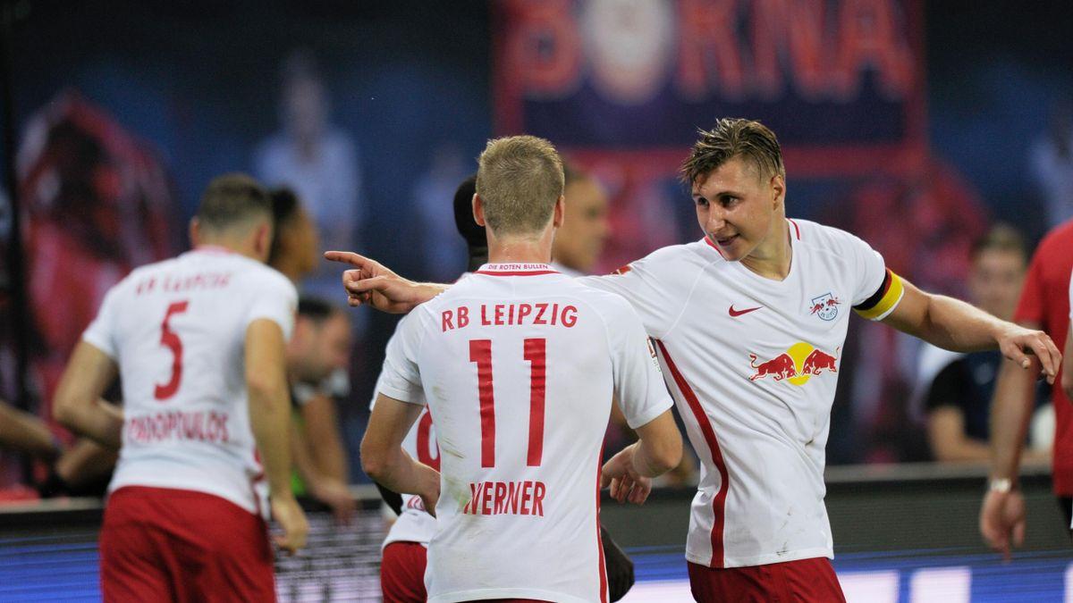 RB Leipzig players celebrate