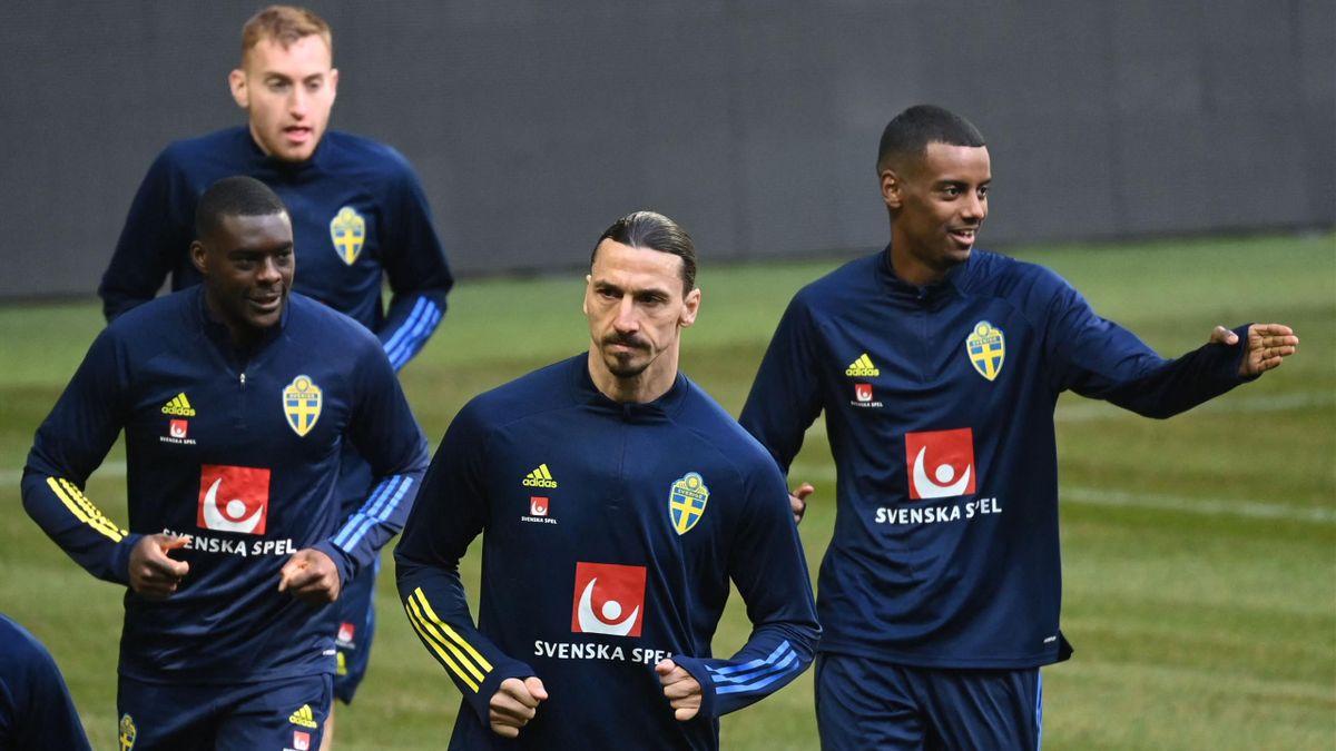 Zlatan Ibrahimovic à l'entraînement avec la sélection suédoise.