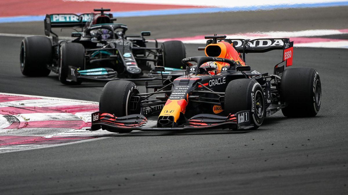 Макс Ферстаппен («Ред Булл») и Льюис Хэмилтон («Мерседес»), Гран-при Франции