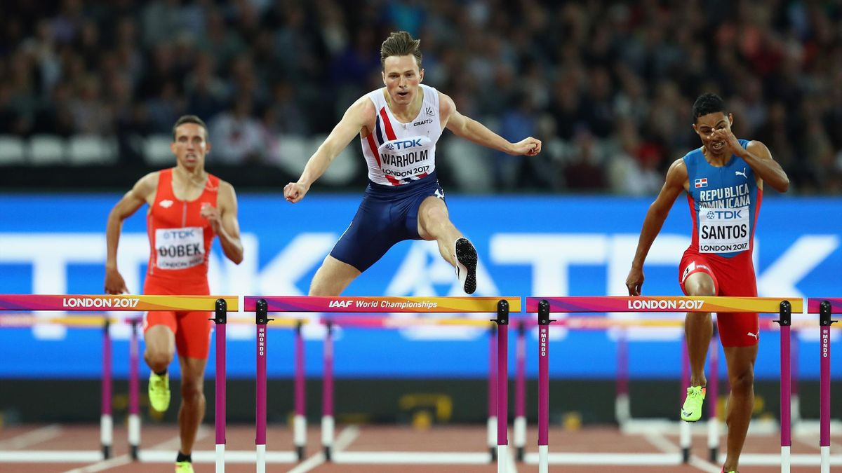 Karsten Warholm of Norway competes during the Men's 400 metres hurdles semi finals during day four of the 16th IAAF World Athletics Championships London 2017 at The London Stadium on August 7, 2017 in London, United Kingdom.