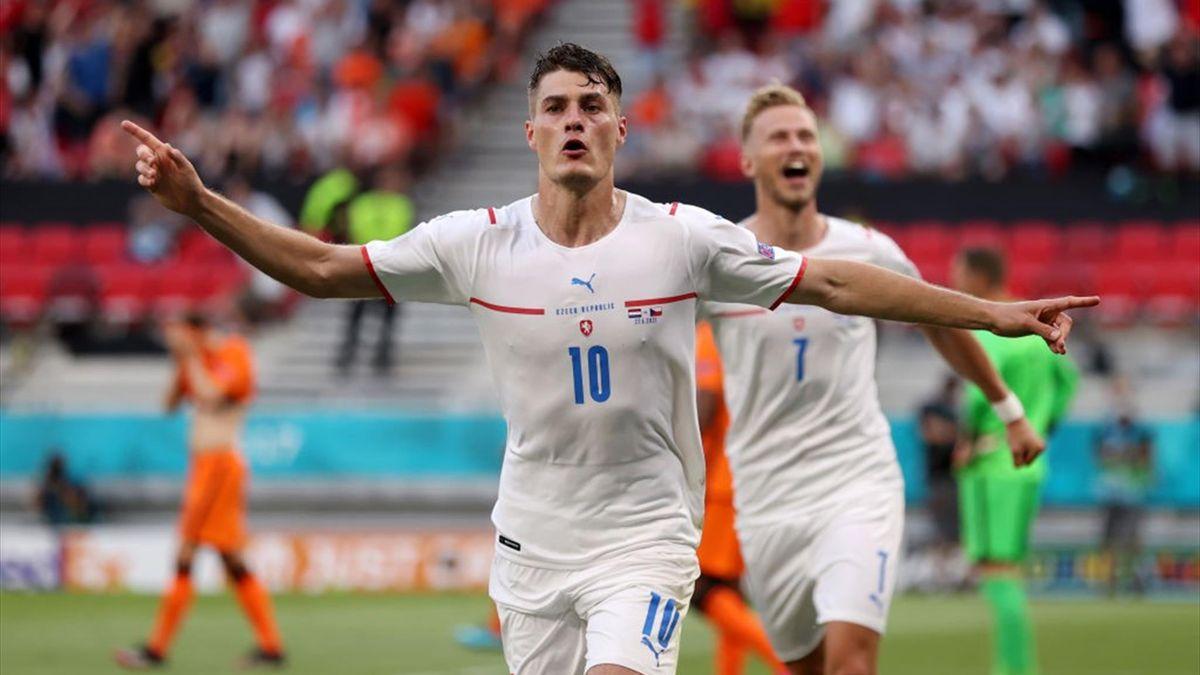 Patrik Schick esulta dopo il gol - Olanda-Repubblica Ceca Euro 2020