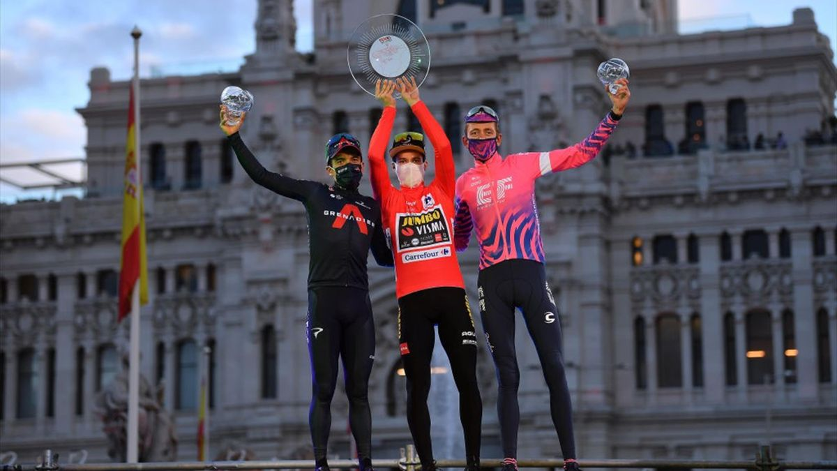 Primoz Roglic, Richard Carapaz, Hugh Carthy - Vuelta 2020, stage 18, podium - Getty Images