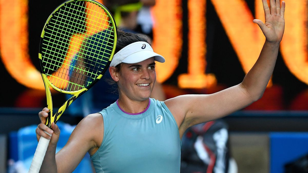 Jennifer Brady of the US celebrates winning against Czech Republic's Karolina Muchova during their women's singles semi-final match on day eleven of the Australian Open tennis tournament in Melbourne