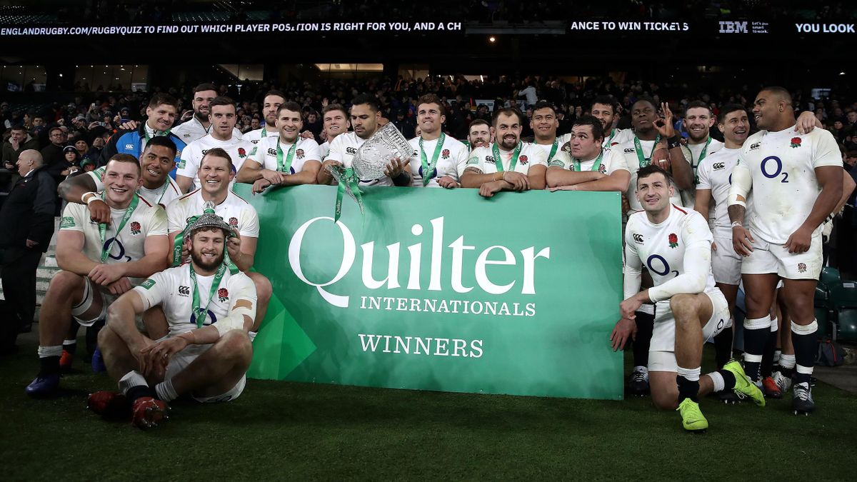 England celebrate their win after the Quilter International match between England and Australia on November 24, 2018 in London, United Kingdom.