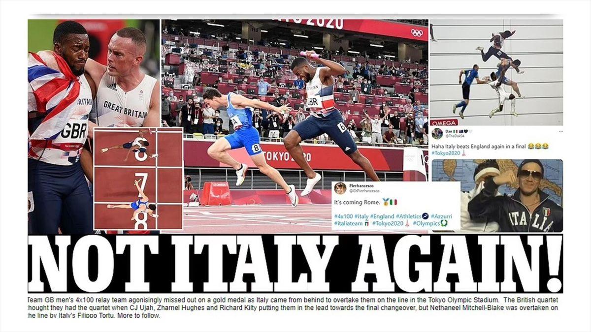"""Die Schlagzeile der """"Mail Online"""" nach Italiens Staffelsieg in Tokio"""