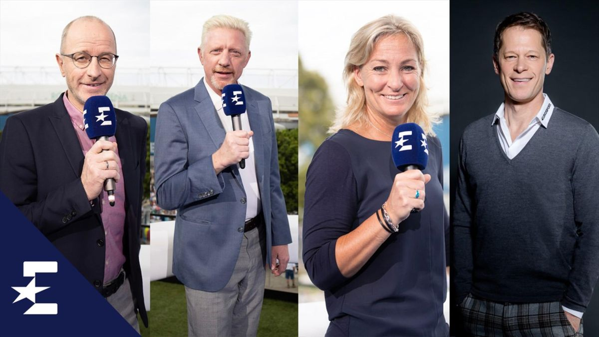 Das Eurosport-Team mit Stach, Becker, Rittner und Bandermann (v.l.n.r.)