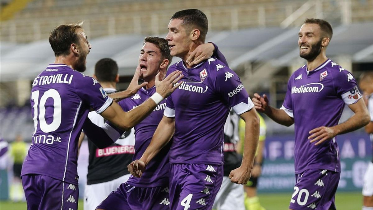 Nikola Milenkovic esulta dopo il gol - Fiorentina-Udinese Serie A 2020-21