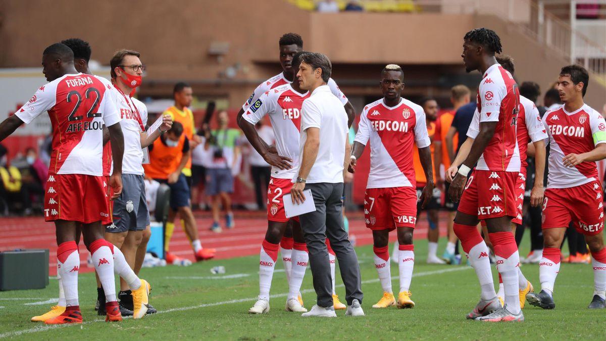 Niko Kovac et ses joueurs, lors de Monaco - Reims