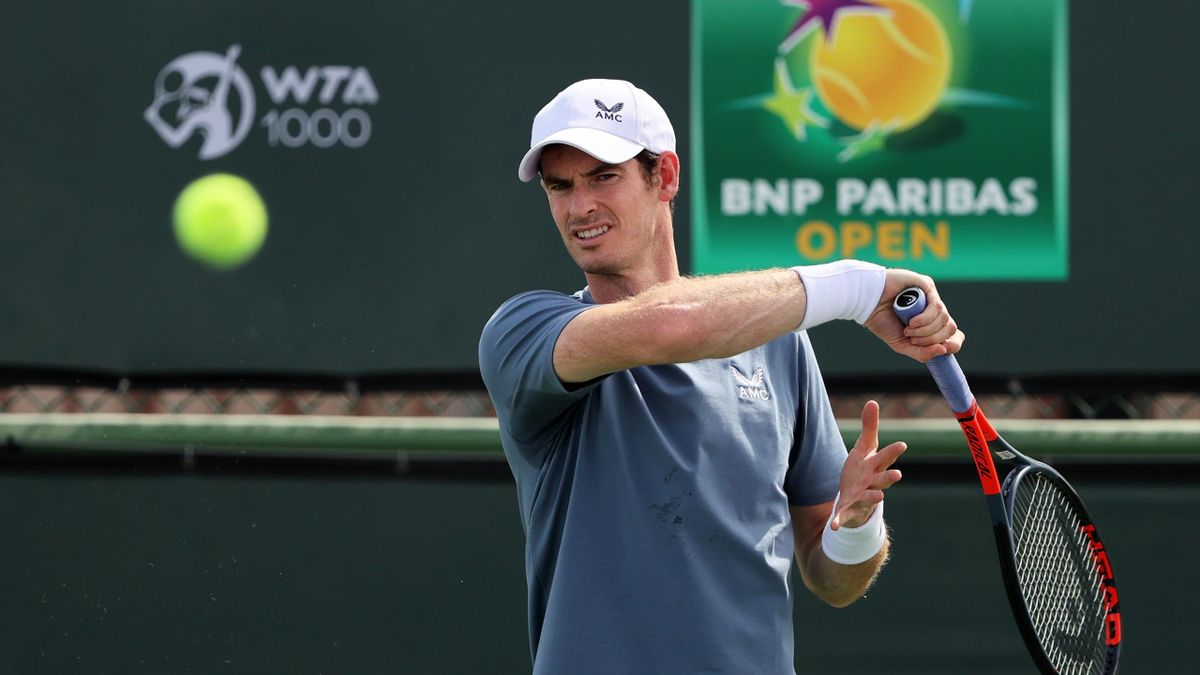 Andy Murray of Great Britain plays a forehand during practice on Day 1 of the BNP Paribas Open at the Indian Wells Tennis Garden