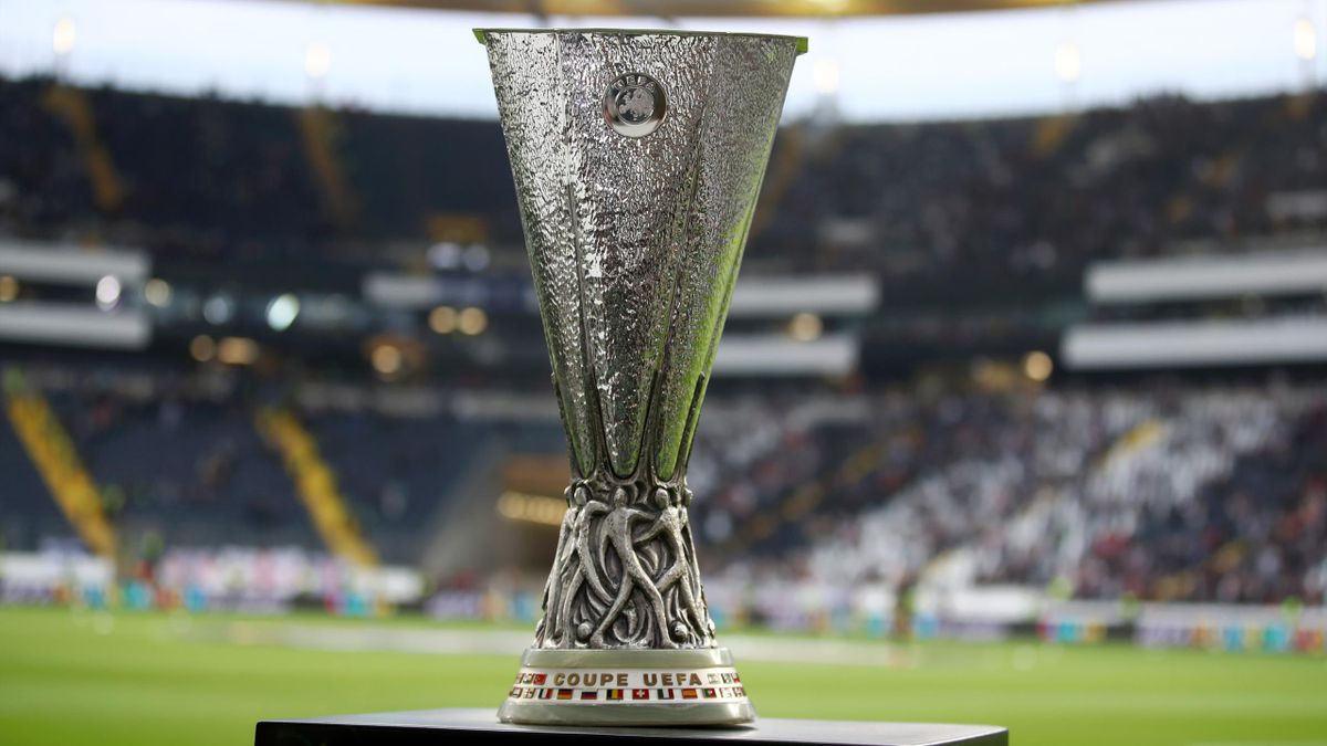 The Europa League trophy on display prior to the UEFA Europa League Semi Final First Leg match between Eintracht Frankfurt and Chelsea at Commerzbank-Arena on May 02, 2019 in Frankfurt am Main, Germany.