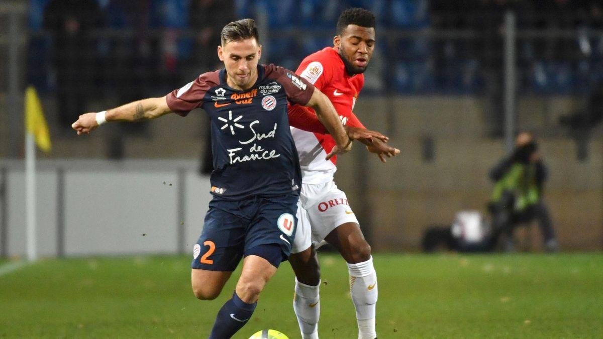Ruben Aguilar à la lutte avec Thomas Lemar lors de Montpellier-Monaco