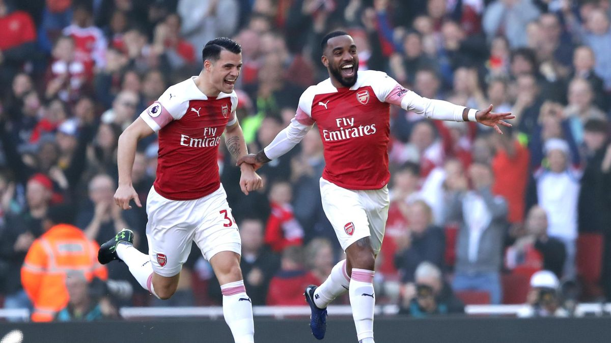 Alexandre Lacazette of Arsenal celebrates after scoring his team's first goal during the Premier League match between Arsenal FC and Southampton FC at Emirates Stadium on February 23, 2019 in London, United Kingdom.