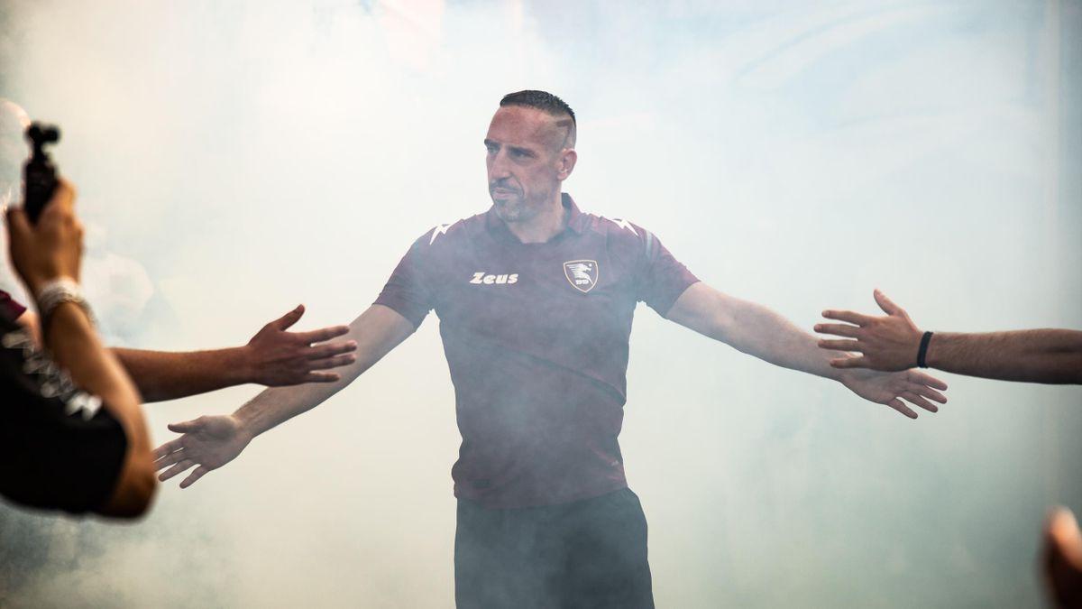 Franck Ribéry lors de sa présentation avec la Salernitana