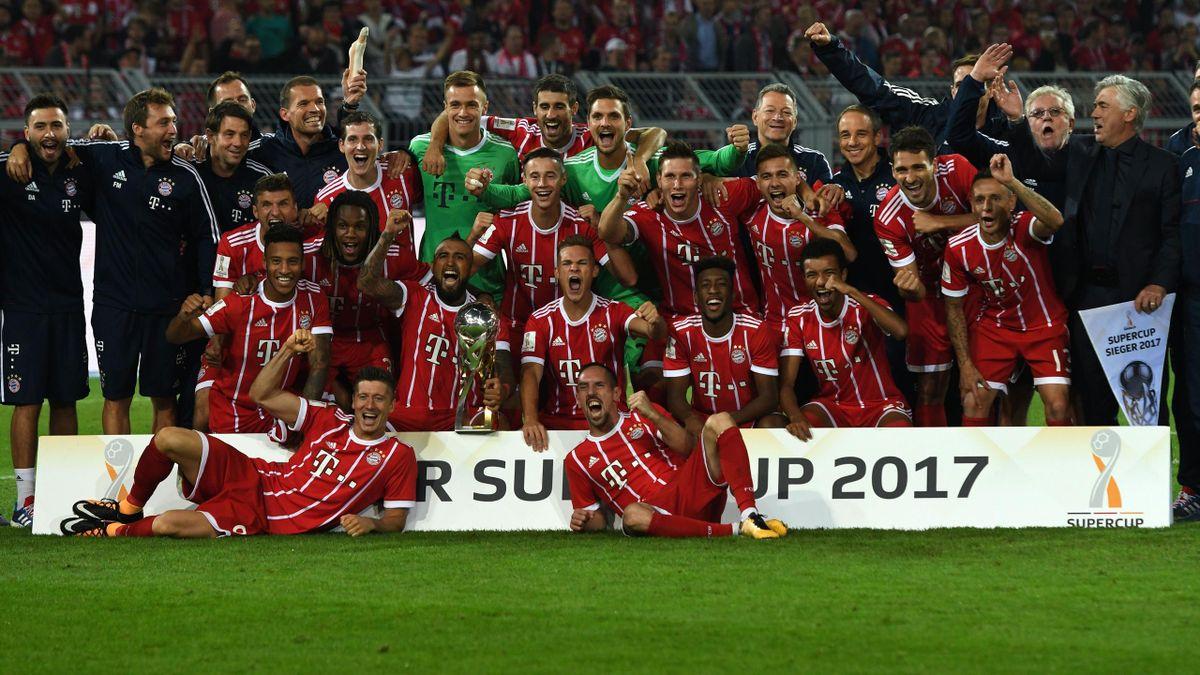 Bayern Munich celebrate victory over Dortmund.