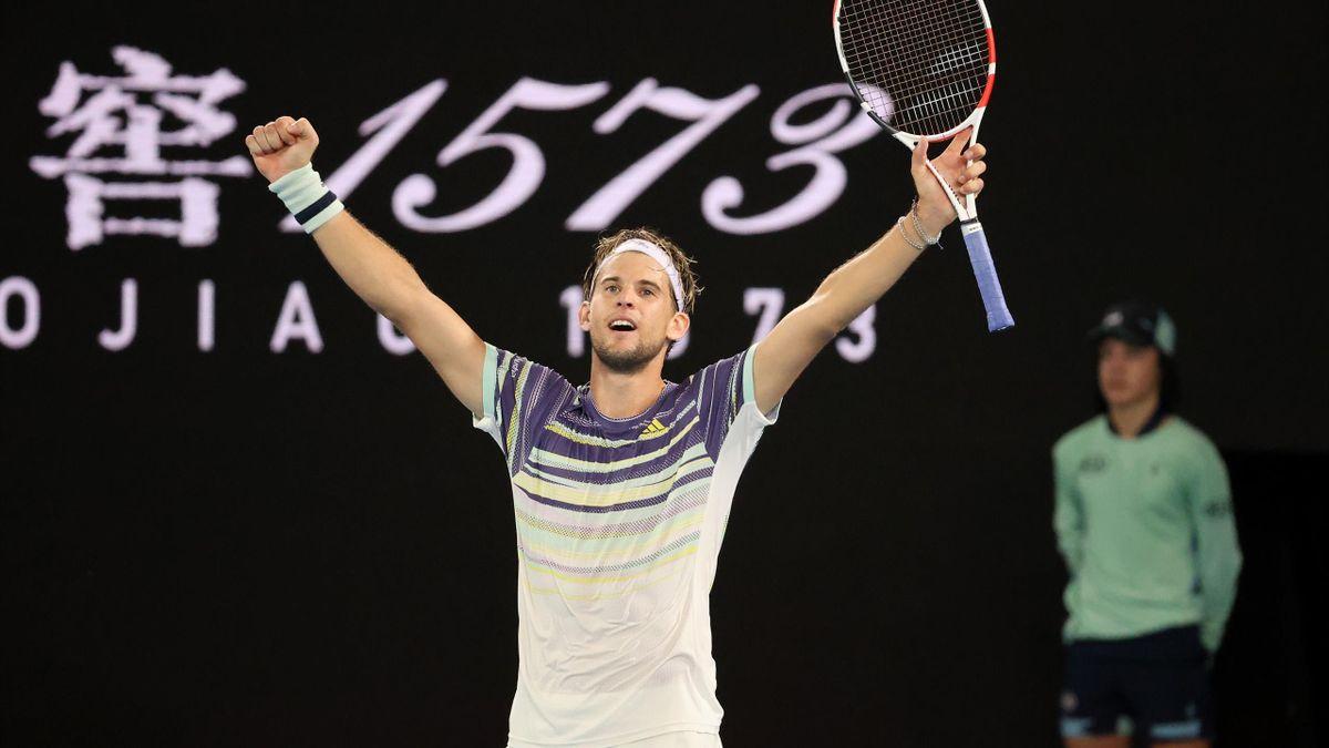Dominic Thiem après sa victoire sur Rafael Nadal en quart de finale de l'Open d'Australie