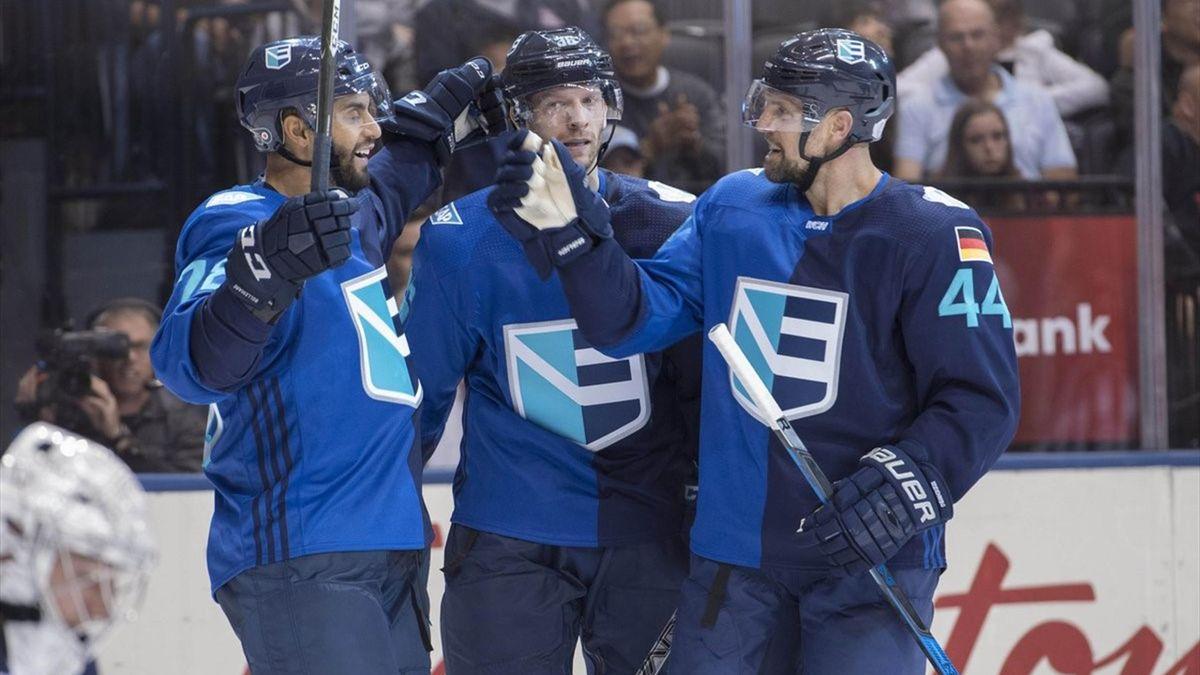 Thomas Vanek, Christian Ehrhoff, Dennis Seidenberg (Team Europe), World Cup of Hockey