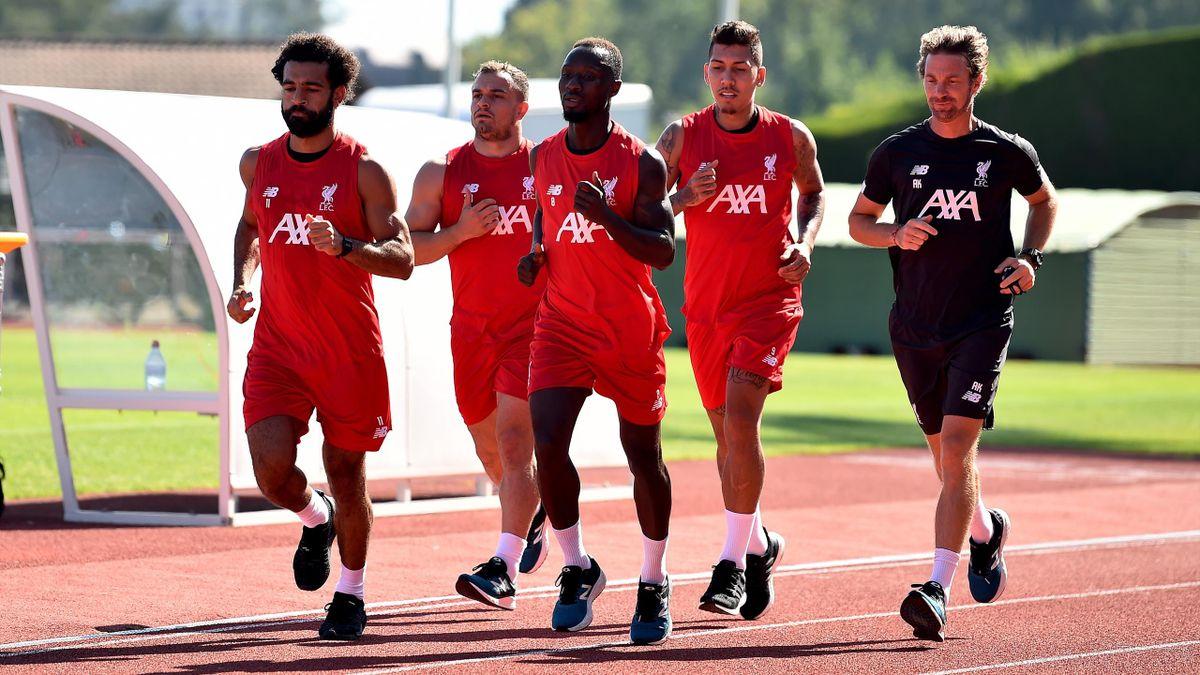 Mohamed Salah, Xherdan Shaquiri, Naby Keita und Roberto Firmino beim Lauftraining