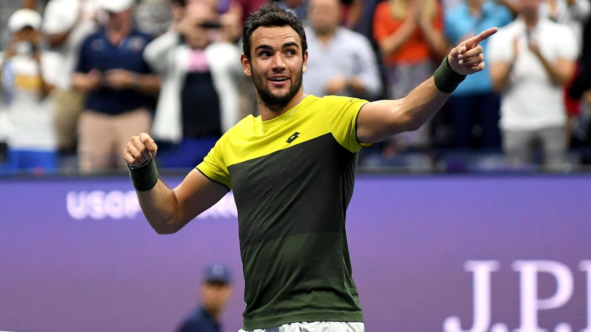 Matteo Berrettini of Italy celebrates after winning his Men's Singles quarterfinal match against Gael Monfils of France on day ten of the 2019 US Open at the USTA Billie Jean King National Tennis Center on September 04, 2019 in the Queens borough of NYC.