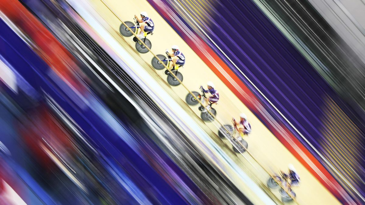The French team are seen during a practice session at the Sir Chris Hoy Veladrome prior to the European Championships Glasgow 2018