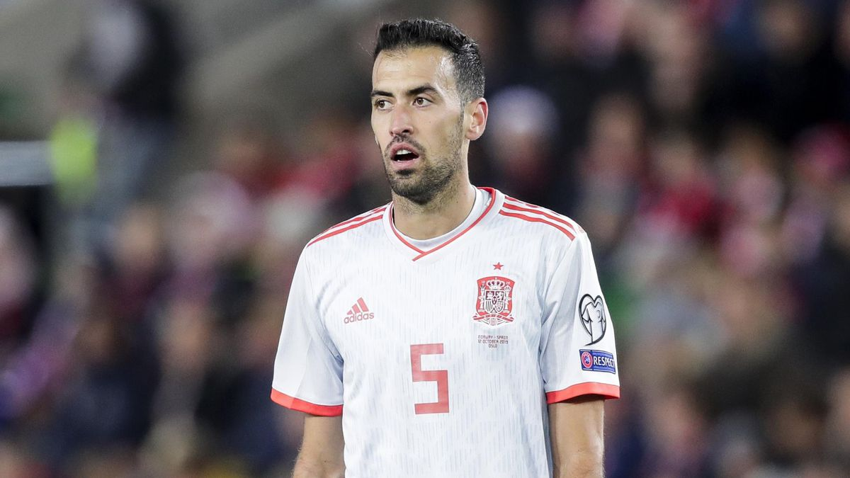 Sergio Busquets of Spain during the EURO Qualifier match between Norway v Spain at the Ullevaal Stadion on October 12, 2019