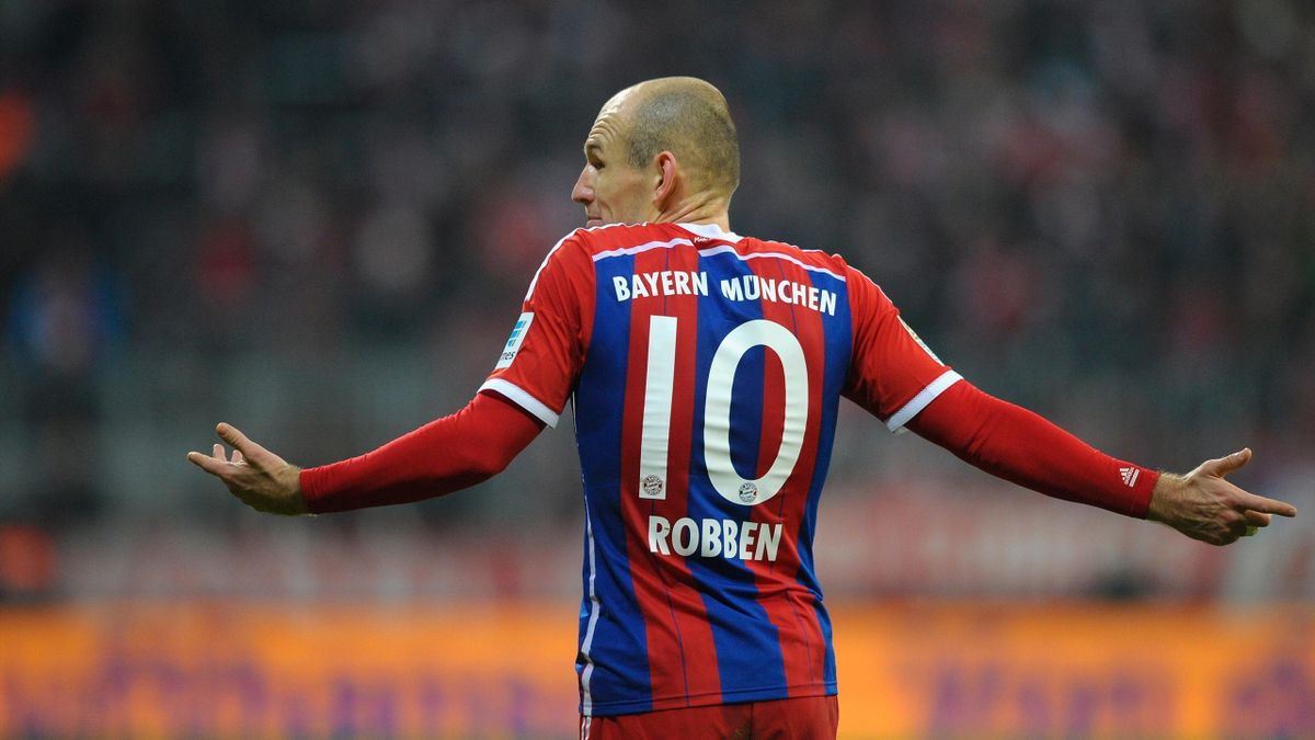 Arjen Robben of Muenchen reacts during the Bundesliga match between FC Bayern Muenchen and SC Freiburg at Allianz Arena.