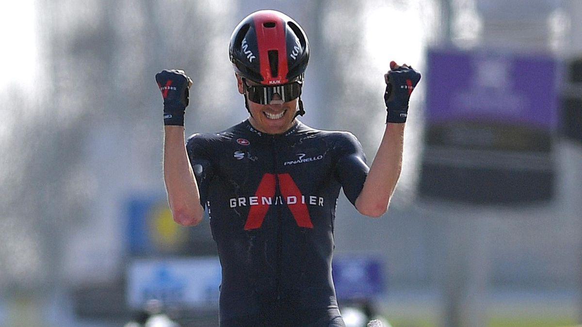 Dylan van Baarle celebrates victory
