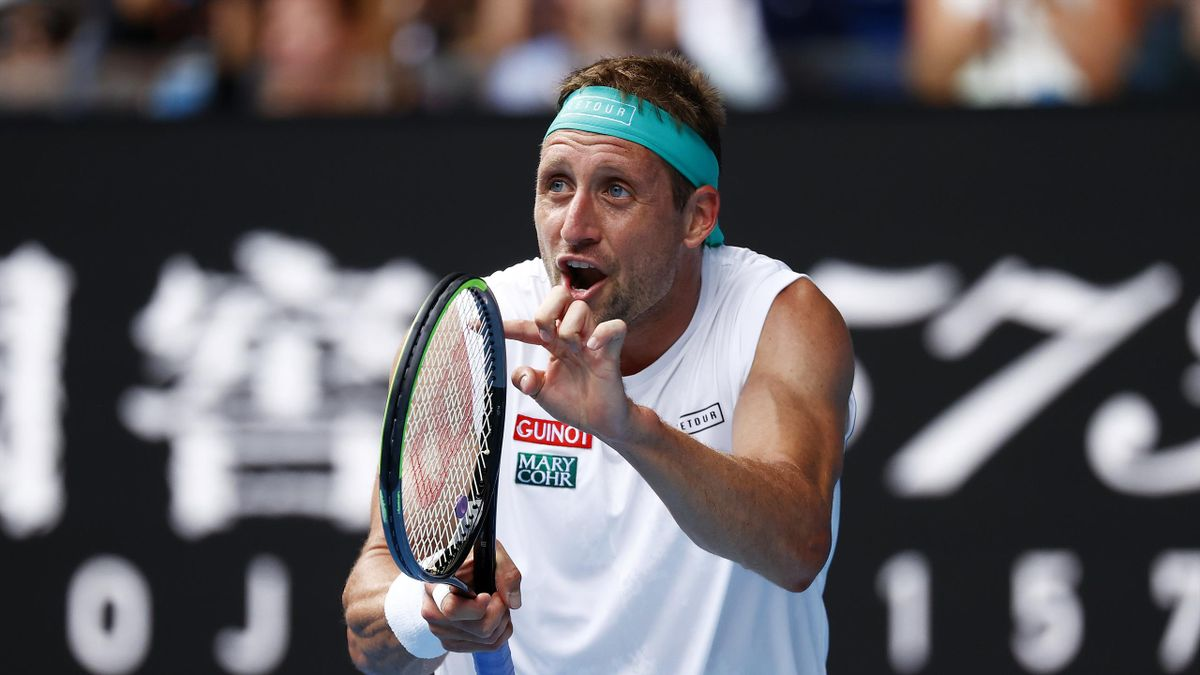 Tennys Sandgren of the United States reacts