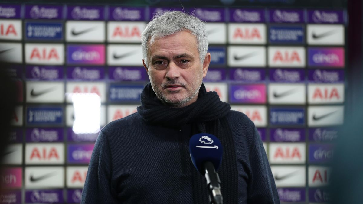 Jose Mourinho, Head Coach of Tottenham Hotspur gives a pre-match interview during the Premier League match between Tottenham Hotspur and Fulham at Tottenham Hotspur Stadium