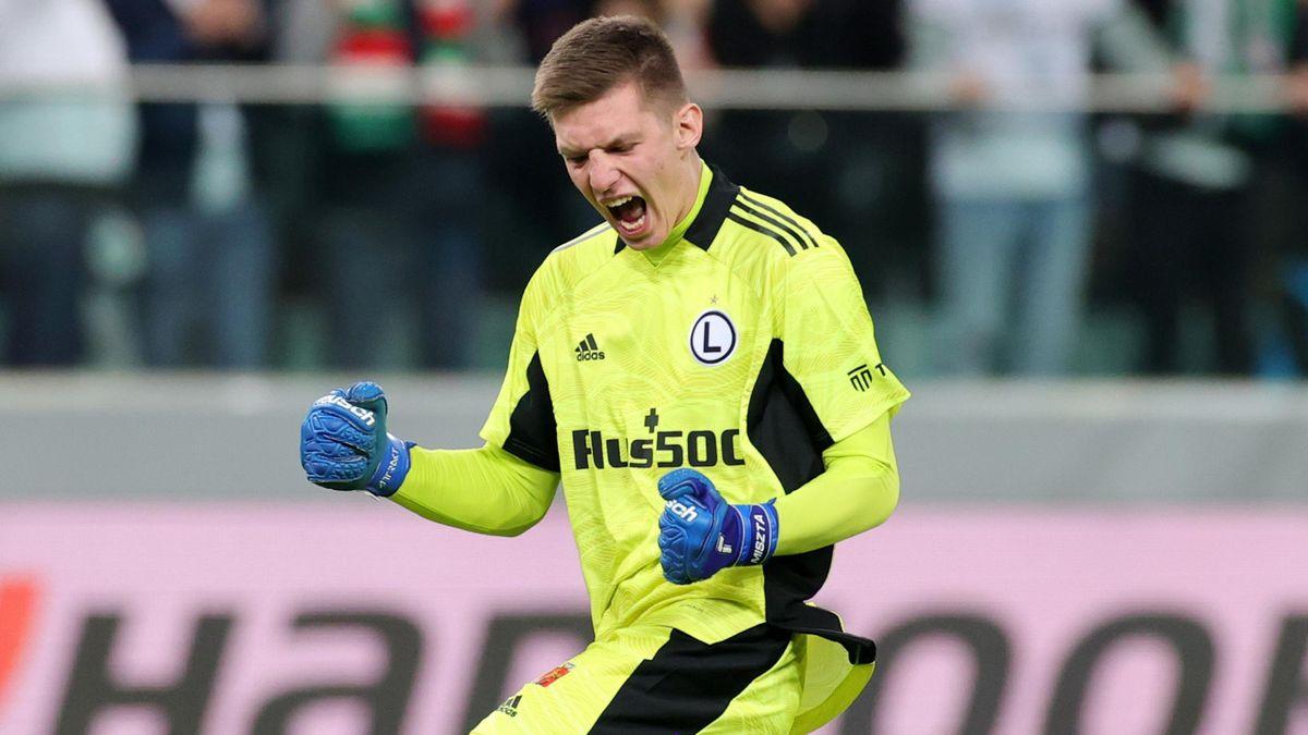Legia Warsaw goalkeeper Cezary Miszta celebrates