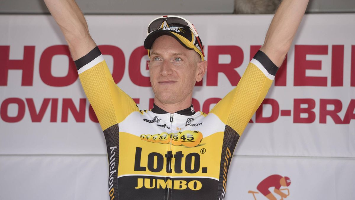 Jos van Emden celebrates at the Eneco Tour (Publication NOT in France, Italy)