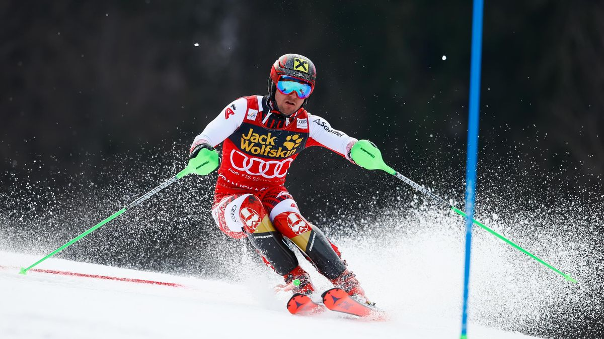 Marcel Hirscher of Austria competes during the Audi FIS Alpine Ski World Cup Men's Slalom on March 10, 2019 in Kranjska Gora Slovenia.