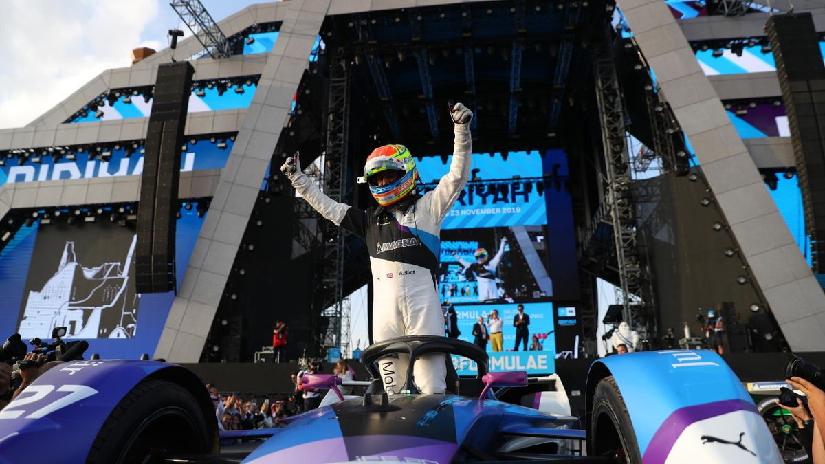 Alexander Sims of Great Britain , BMW iFE.20 and Team BMW i ANDRETTI MOTORSPORT celebrates after winning Round 2 of the ABB FIA Formula E Championship