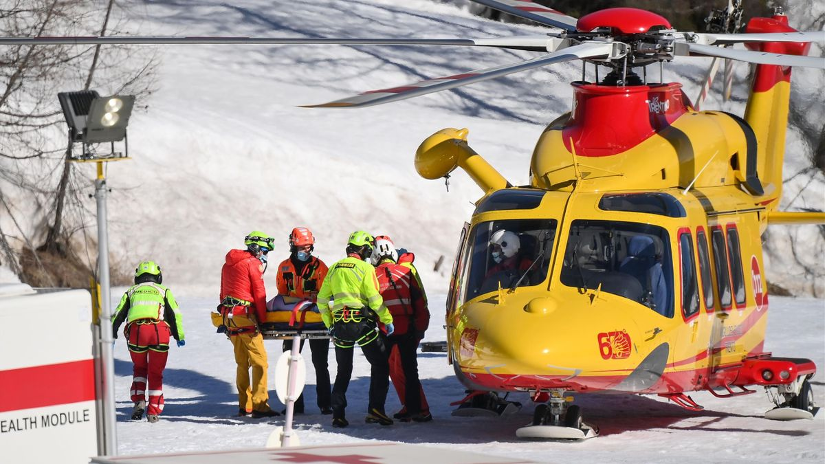 Norway's Kajsa Vickhoff Lie is evacuated by a medical team after her injury during the FIS Alpine Ski Women's World Cup Super G event, in Val di Fassa, northern Italy Alps, on February 28, 2021.