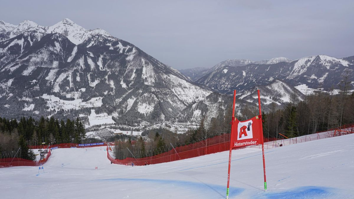 A general view during the Audi FIS Alpine Ski World Cup - Men's Super G at Hannes Trinkl Weltcupstrecke on February 29, 2020 in Hinterstoder, Austria.