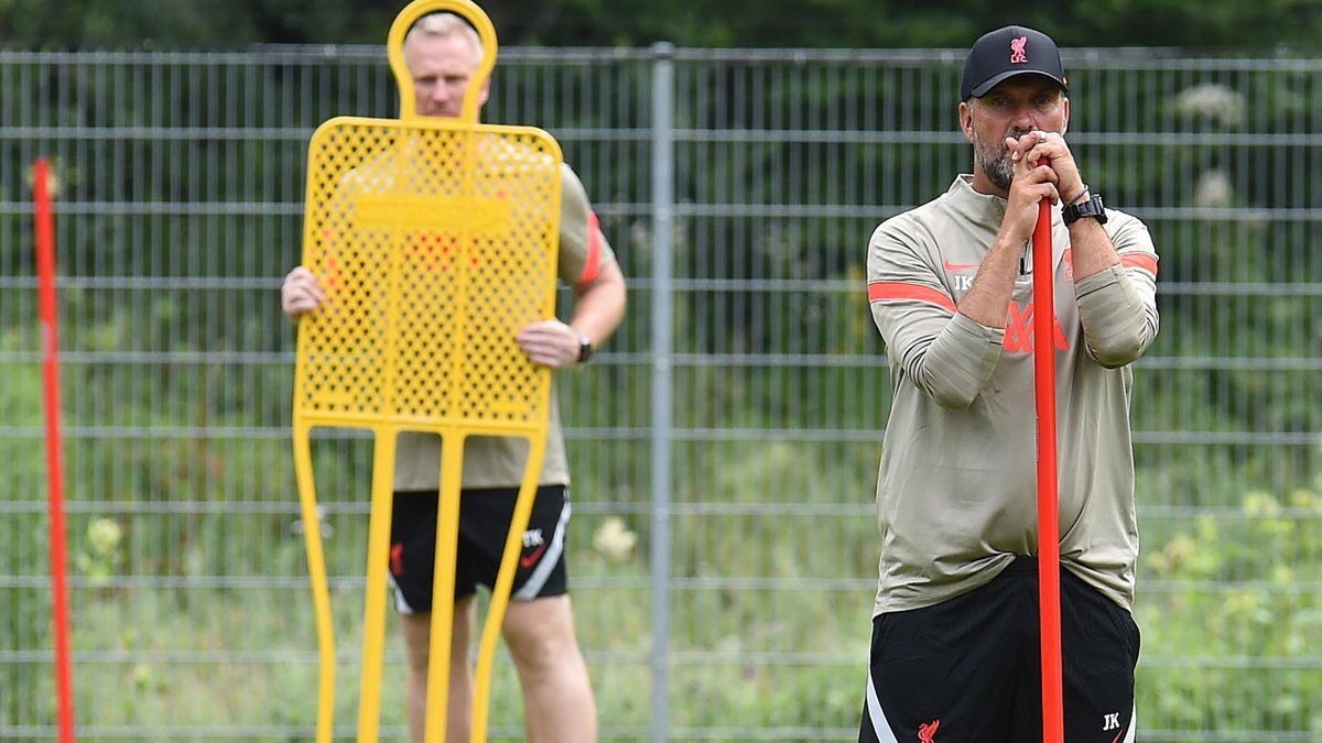Jurgen Klopp watches Liverpool training, July 13, 2021