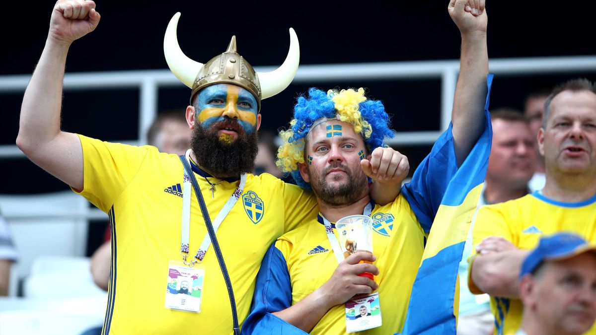 Sweden fans enjoy the pre match atmosphere during the 2018 FIFA World Cup Russia group F match between Sweden and Korea Republic at Nizhniy Novgorod Stadium on June 18, 2018 in Nizhniy Novgorod, Russia
