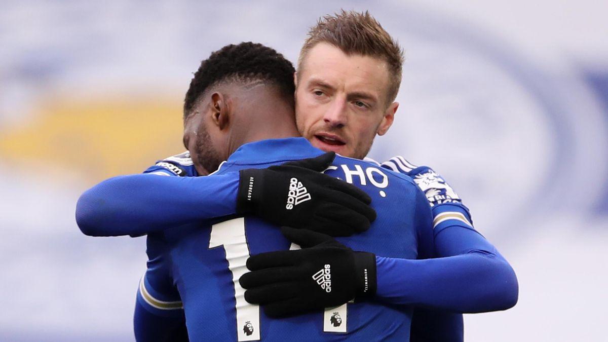 Kelechi Iheanacho of Leicester City celebrates