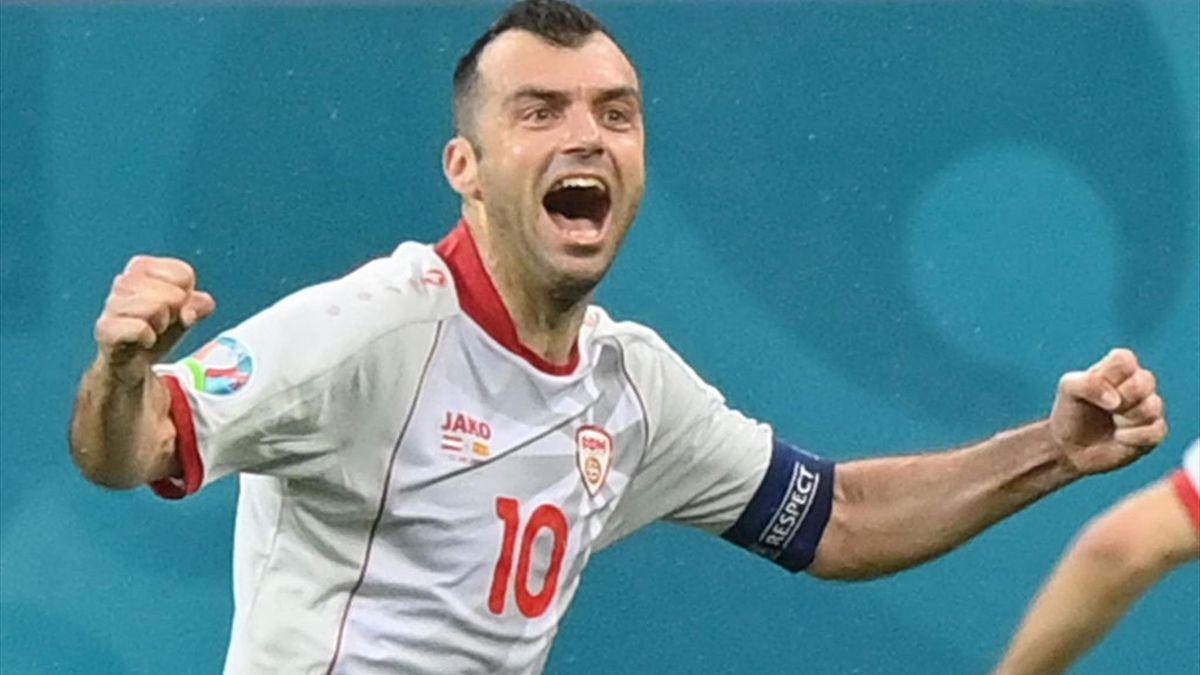 Pandev esulta per il gol del pareggio in Austria-Macedonia - Europei 2021