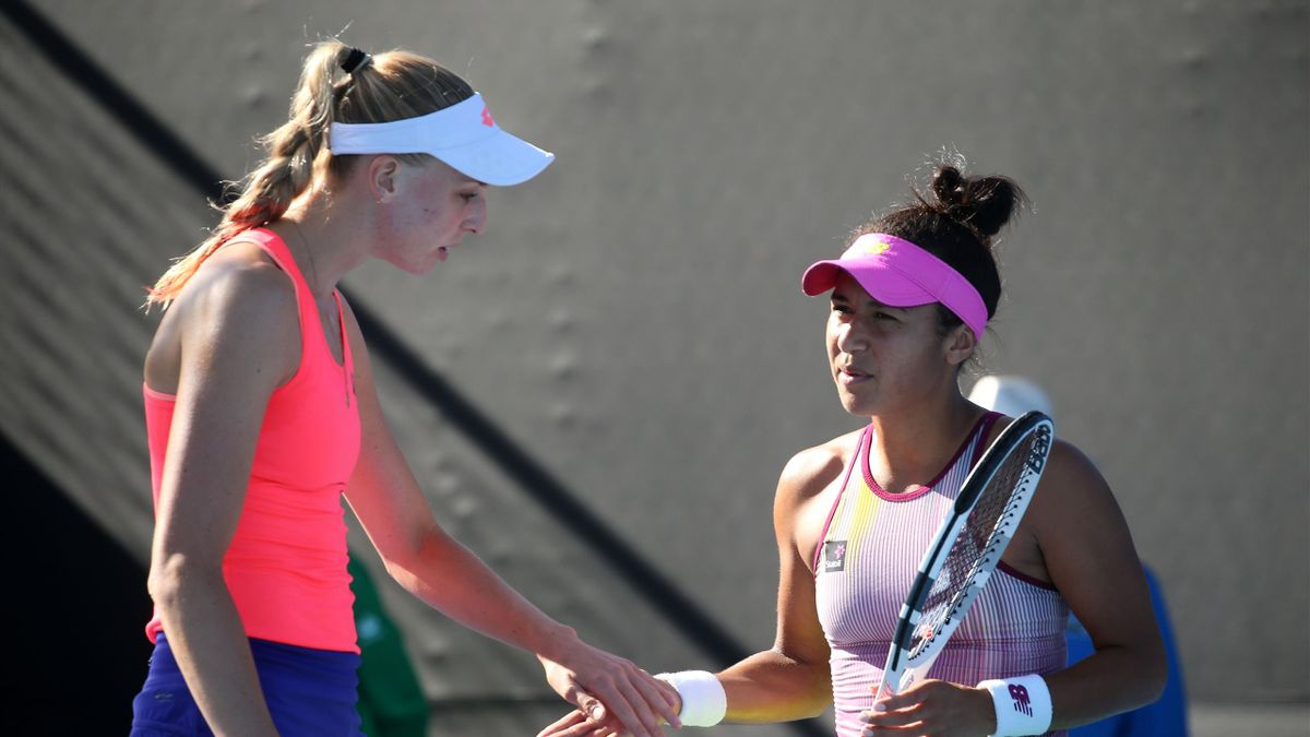 Naomi Broady and Heather Watson of Great Britain celebrate a point in their first round doubles match against Karin Knapp and Mandy Minella on day three of the 2017 Australian Open at Melbourne Park on January 18, 2017 in Melbourne, Australia.