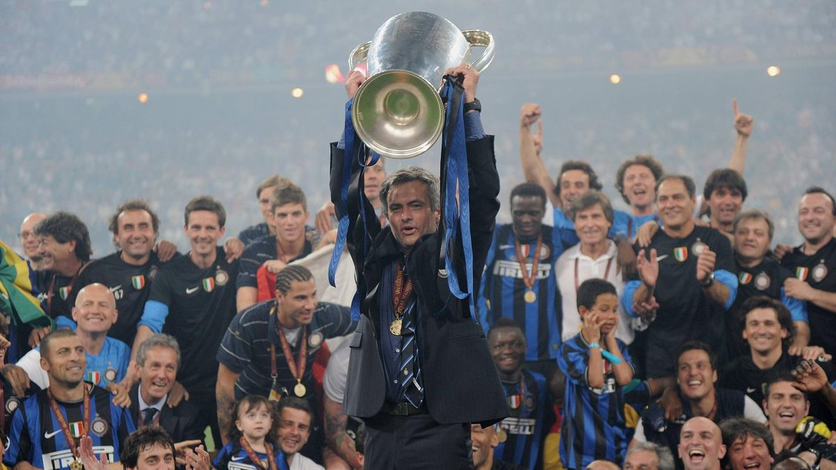 Jose Mourinho lifts the Champions League trophy with Inter Milan