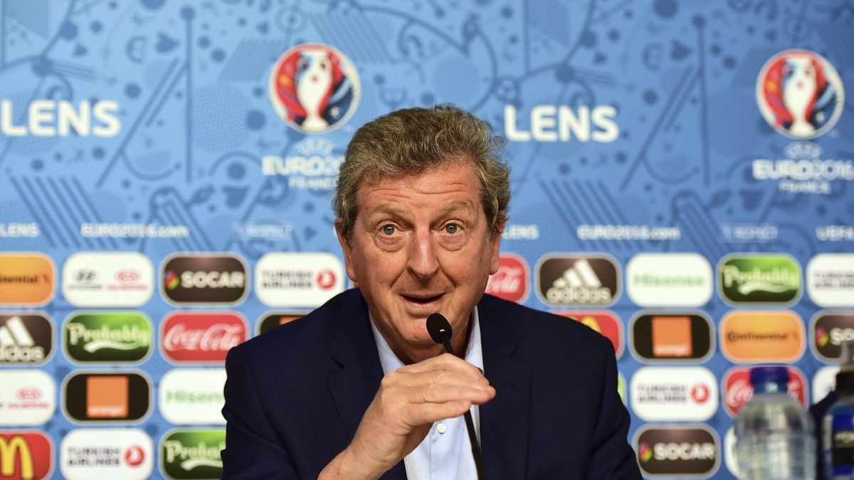 Roy Hodgson addressing a press conference in Lens, on the eve of the team's Euro 2016 football match against Wales.