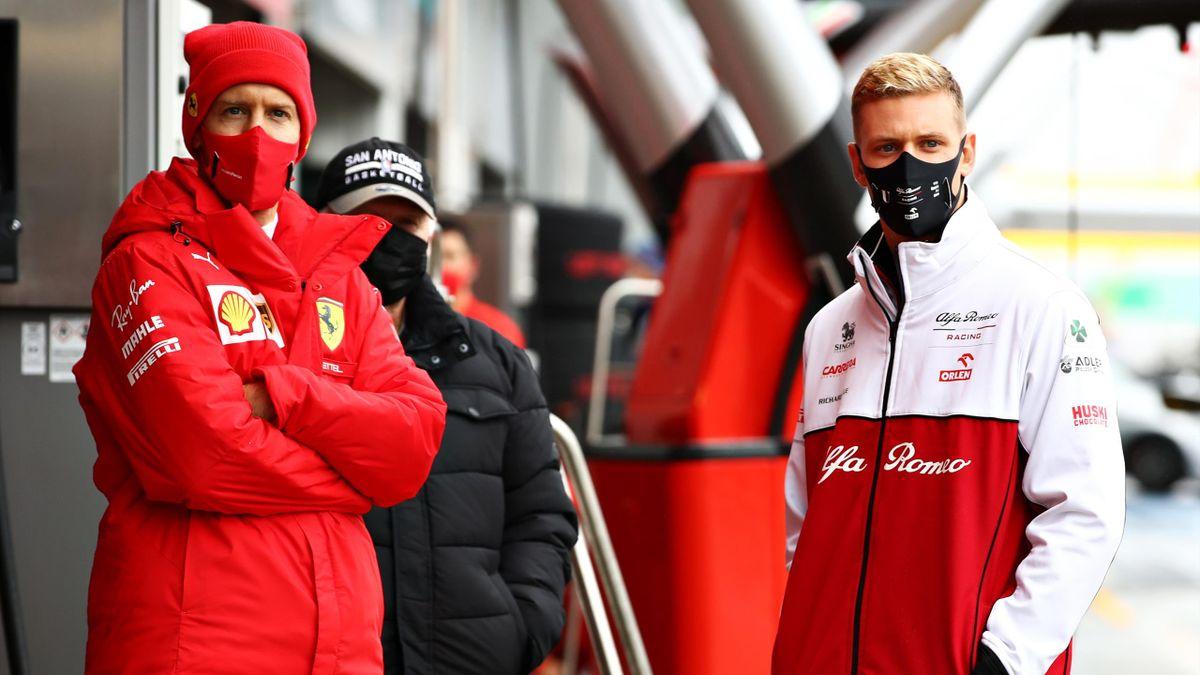 Sebastian Vettel (l.) und Mick Schumacher