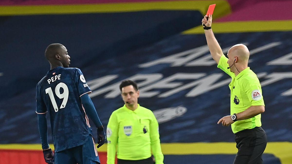 Nicolas Pepe red card, Leeds v Arsenal