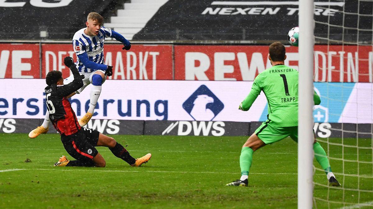Luca Netz (Hertha BSC Berlin) in der Partie gegen Eintracht Frankfurt