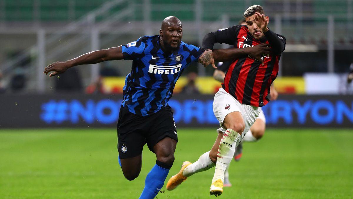 Romelu Lukaku and Theo Hernandez. Inter-Milan Serie A 2020-21